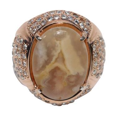 Premium Gemstone Akik Koleksi Langka Batu Gambar Huruf A Cincin