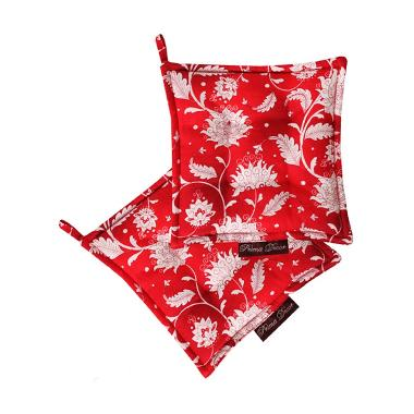 Prima Decor SET OF 2 POT HOLDER - RED FLOWER