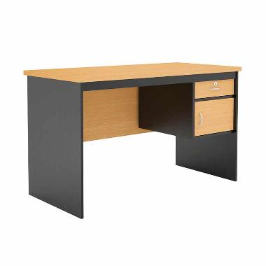 Prissilia Study Desk Mortred with Ironfeet Meja Belajar - Beech