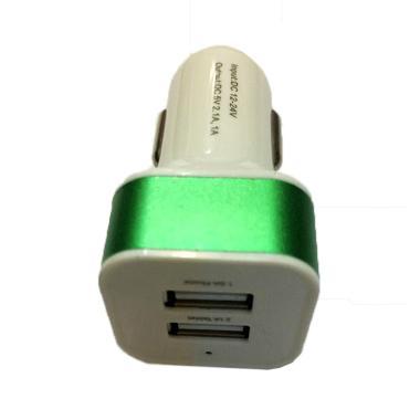 QCF 2in1 USB Output Head Car Charger - Hijau