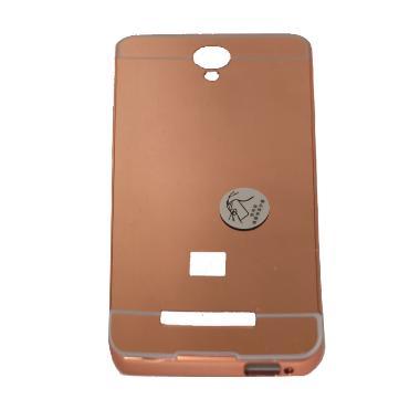 QCF Case Mirror Aluminum Bumper with Sliding Mirror Casing for Xiaomi Redmi Note 2 - Copper