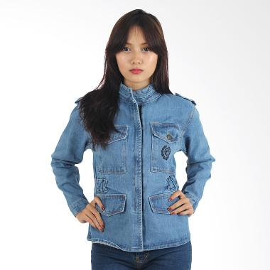 Raindoz Women RNU 105 Zip Denim Jacket - Blue