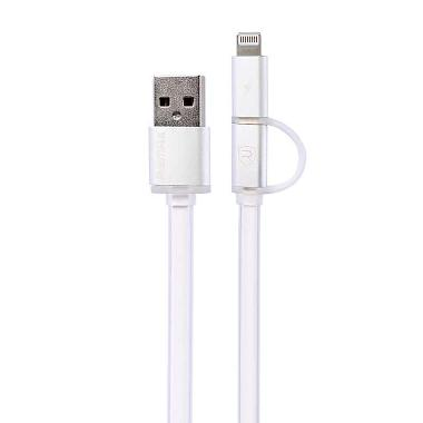 harga Remax Aurora Double Sided Micro USB and Lightning Pin for Smartphone/iPhone 5/6/iPad Mini - Putih Blibli.com