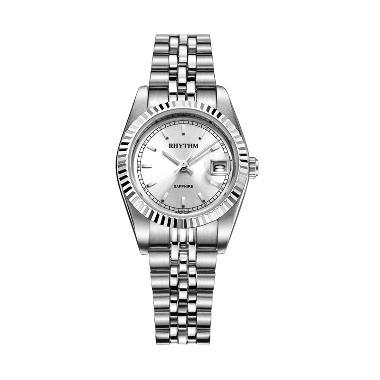 Rhythm R1203S 01 Stainless Jam Tangan Wanita - Silver White