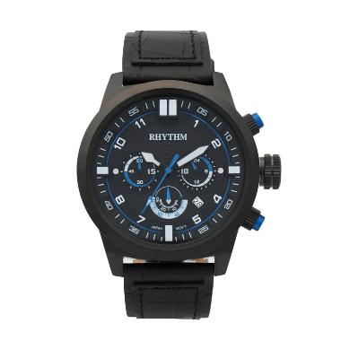 Rhythm SI1602L 04 Leather Jam Tangan Pria - Black Blue