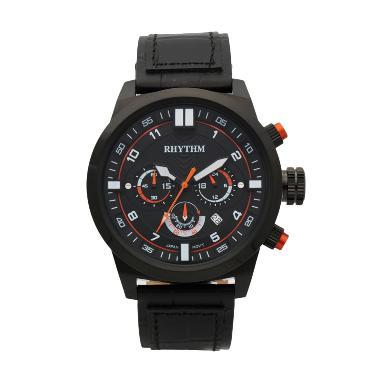 Rhythm SI1602L 05 Leather Jam Tangan Pria - Black Orange