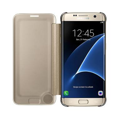 Samsung Clear View Cover Casing for Galaxy S7 Edge - Gold