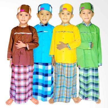 Sanaya Kids Motif Tree Koko Sarung Instan Set Muslim Anak