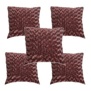 Sarunik Sarung Bantal Kursi Sofa Bulu Warna Cokelat [5 Pcs/40 x 40 cm]