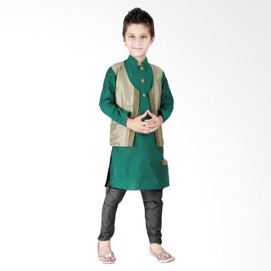 Senshukei Koko Boys Atasan Baju Muslim - Green Vest Gold