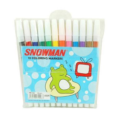 Snowman Spidol Warna Coloring Markers Perlengkapan Alat Tulis [12 pcs]