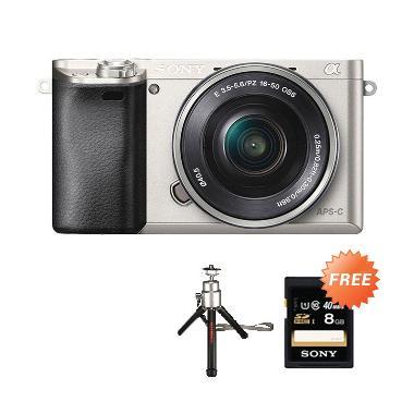 SONY Alpha ILCE A6000 L Kit 16-50mm Kamera Mirroless - Silver + Free Tripod Mini + Kartu Memori SONY 8 GB