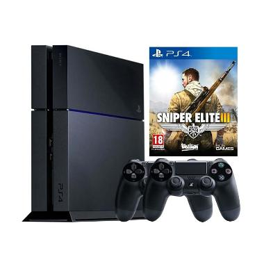 Sony PS4 Black Game Console [500 GB] + Snipper Elite III DVD Game + 2 Stick Controller