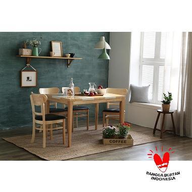 The Olive House Rumania Meja Makan 4P Kursi Cookie - Top Chess