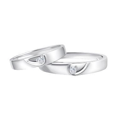 Tiaria Angels Heart Diamond Cincin Pernihakan Emas Putih 18K