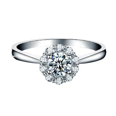 Tiaria Carnation Diamond Cincin Emas Putih [18K]