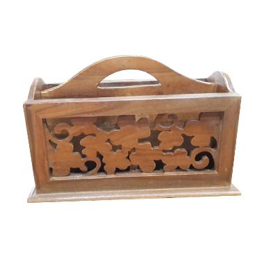 TilaVie Carved Kayu Jati Desk Organizer - Brown