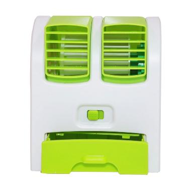 Tokuniku Twin Double Mini Fan AC Portable with Parfum - Hijau