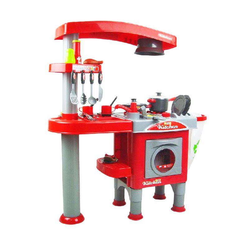 Jual tomindo kitchen jumbo red set mainan anak online for Kitchen set mainan