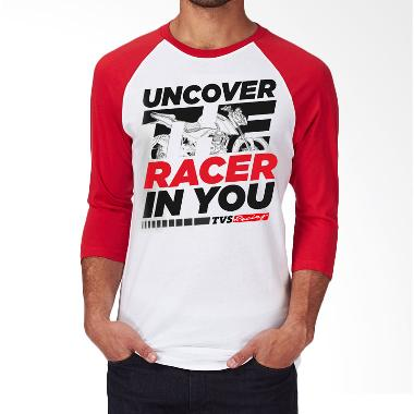 TVS Racing Uncover The Racer In You Raglan T-Shirt - White Red