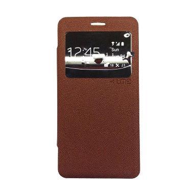 Ume Enigma Flip Cover Casing for Oppo Joy 3 A11T - Cokelat