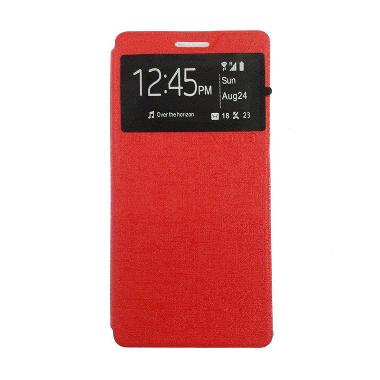 Ume Enigma Flip Cover Casing for Oppo Joy 3 A11T - Merah