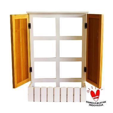 Uwitan Folding Shelf Nat Aksen Dekorative - White