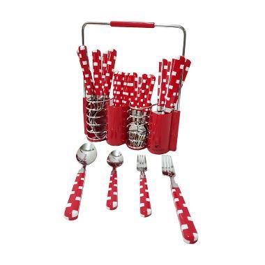 Vicenza V240C Kotak Set Sendok Garpu - Merah
