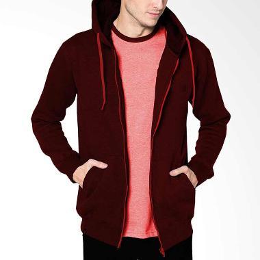 VM Polos Long Zipper Merah Maroon Jaket Hoodie Pria