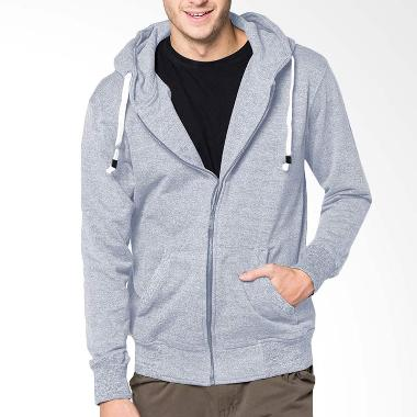VM Polos Basic Zipper Hoodie Jaket Pria - Light Grey
