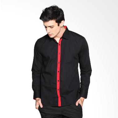 VM Slimfit Casual Long Shirt Kemeja Fashion Pria - Hitam