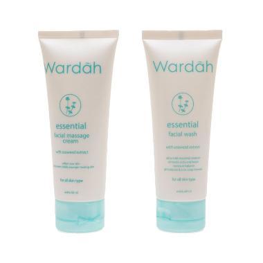 Wardah Essential Facial Massage Cream Dan Facial Wash With Seaweed Extract Sabun Wajah