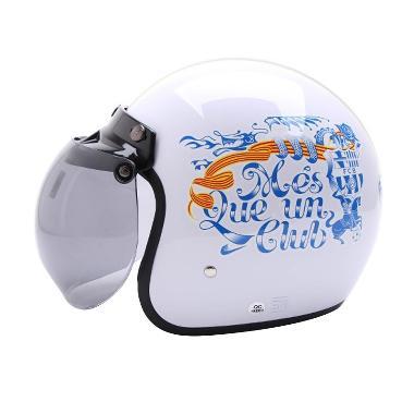 WTO Helmet Retro Bogo Barca Helm Half Face - Putih Biru