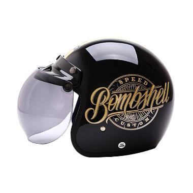 WTO Helmet Retro Bogo Bombshell Helm Half Face - Black Gold