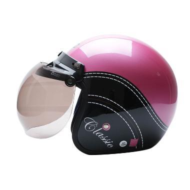 WTO Helmet Retro BOGO Classic Pink Met Hitam Helm Half Face