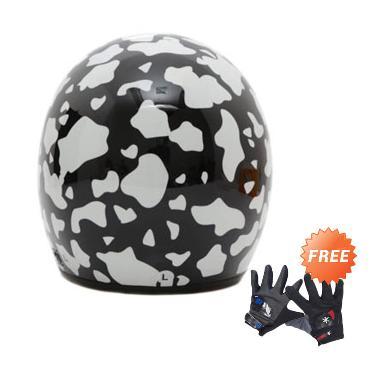 WTO Helmet Retro Bogo Cow Helm Half ... + Free Sarung Tangan Pria