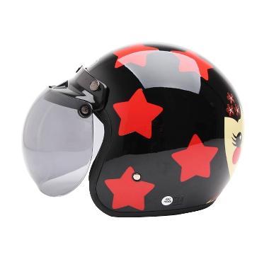 FBO - WTO Helmet Retro Bogo Kokhesi Bintang Helm Half Face - Hitam Merah