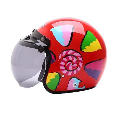 WTO Helmet Retro Bogo Lolipop Helm Half Face - Red