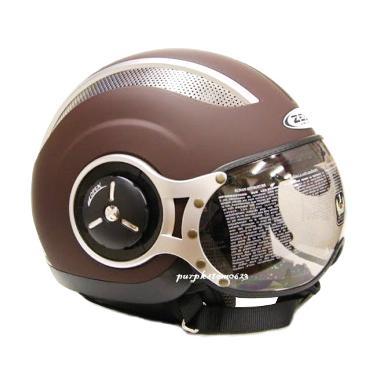 Jual Zeus ZS 218 Retro Iron Head Cokelat Dope Helm Half