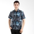 Batik Begawan Kemeja Pendek Pola Biru 008