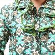 Batik Distro Ruffle BA3087 Hijau Blus Atasan Wanita