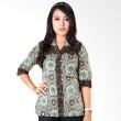 Batik Distro Blus Kantor Kerah Double Hijau B9840