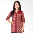 Batik Distro Blus Kantor Kerah Double Merah B9841