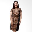 Batik Distro Dress Leher Bulat Daun Coklat B9899