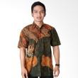 Batik Distro Kemeja Pendek Pola Bahu Hijau K6452