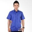 Batik Distro Kemeja Sunwash Pola Metal Biru K6068