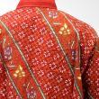 Batik Distro Larik Garis K7255 Merah Kemeja Pria