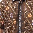 Batik Distro Larik Garis K7263 Hitam Kemeja Pria