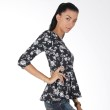 Blaize Black and White Floral Peplum Top