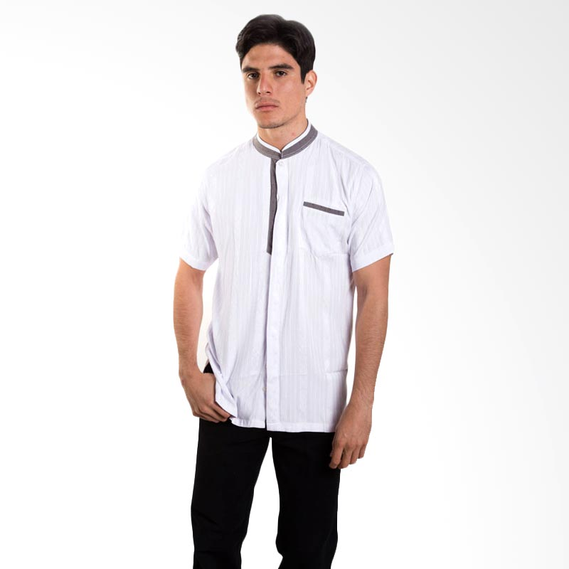 Britania Solid Texture Combination White Baju Koko [Lebaran Collection]